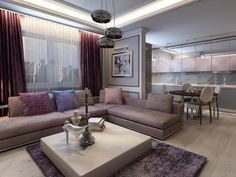 modern design lounge - cold or warm tones? Deco Violet, Contemporary Lounge, Purple Curtains, Lounge Sofa, Carpet Colors, Living Room Designs, House Design, Interior Design, Furniture