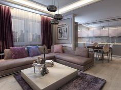 modernes Wohnzimmer mit Küche in Grau und Lila