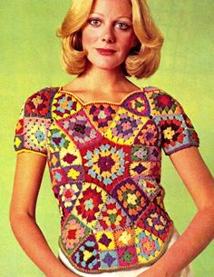 $3.20 Vintage 70s Crochet STAINED GLASS Blouse PDF by KinsieWoolShop