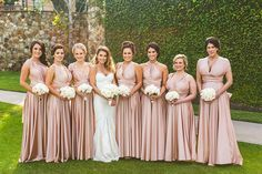 Rosewater pink twobirds Bridesmaid dresses | A real wedding featuring our multiway, convertible, twist wrap dresses | Completely chic and white classic weddings with a contrast of blush for a summer affair have a way to our heart, add an MLB player and gorgeous bride.