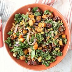 This vegan & gluten free Kale Salad is filled with delicious ingredients like roasted butternut squash, dates, quinoa & avocado vinaigrette!