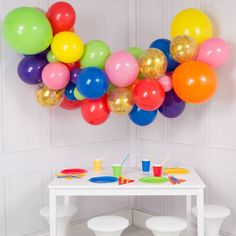Rainbow Bright Colour Balloon Garland Kit - DYI 56 piece set by FabfunctionsByKelly on Etsy Bubblegum Balloons, Balloon Clouds, Mini Balloons, Gold Confetti Balloons, Rainbow Balloons, Letter Balloons, Helium Balloons, Balloon Garland, Birthday Balloons