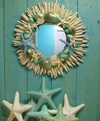 Seashell Driftwood Mirror Beach House Wall Decor by CastawaysHall Seaside Decor, Coastal Decor, Decorating Tips, Interior Decorating, Beach House Colors, Driftwood Mirror, Cottages By The Sea, Nautical Home, House Wall