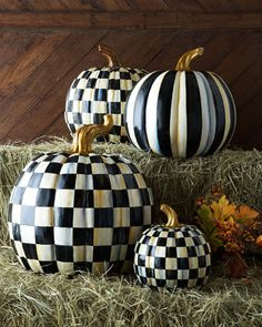Love these checked and striped pumpkins...