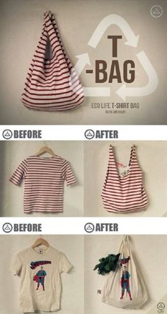 Diy Sewing Projects How To Make a No Sew T-Shirt Tote Bag in 10 Minutes - This no sew t-shirt tote bag made from old t-shirts can be whipped up in just ten minutes! It's perfect as a DIY tote or farmer's market bag. Sewing Hacks, Sewing Crafts, Sewing Projects, Sewing Tips, Craft Projects, Sewing Tutorials, Project Ideas, Teen Crafts, Diy Projects No Sew