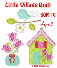 Little Village Quilt BOM 10 - Little Village Quilt Block of the Month 10 of 12 April / These 3 embroidery files of Overlays, Machine Embroidery, Blog, Kids Rugs, Quilts, Holiday Decor, Applique Ideas, Pattern, Pictures