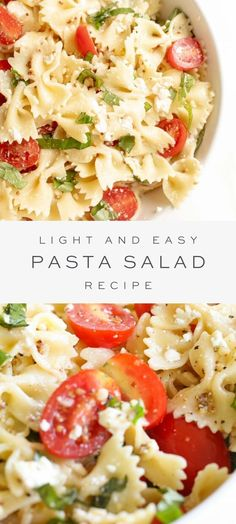 A light, refreshing pasta salad recipe, perfect for summer picnics and outings. This bow tie pasta salad has the most amazing pasta salad dressing made with lemon and basil. It's always a crowd pleaser! Light and Ea Light Pasta Salads, Pasta Ligera, Pasta Facil, Healthy Pasta Salad, Best Pasta Salad, Easy Pasta Salad Recipe, Summer Pasta Salad, Vegetarian Salad Recipes, Healthy Pastas