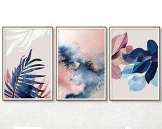 Set of 3 Wall Art Blush Pink Decor Abstract Watercolor Abstract Watercolor, Pink Abstract, Abstract Art, Leaf Art, Bedroom Art, Geometric Art, Botanical Prints, Printable Art, Etsy