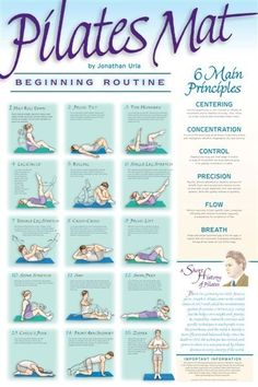 The Beginning Mat Routine focuses on abdominal and lower-back strength, correct alignment, proper breathing, muscle lengthening and balance...  An explanation of the six main principles of Pilates Matwork... A brief history of Joseph Pilates and the development of the Pilates Exercises...Beautifully colored illustrations depicting proper execution of each exercise.