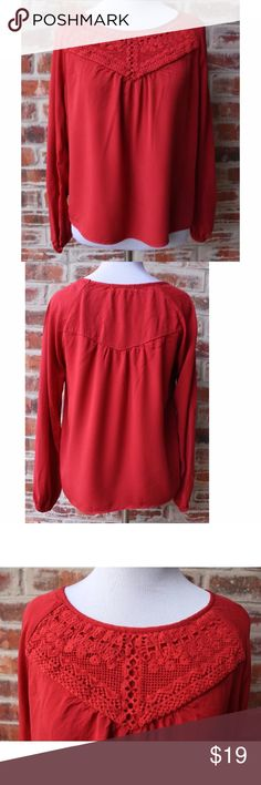 """Altar'd State Red Peasant Blouse Top Small This adorable blouse from Altar'd State is a size small and in very good preowned condition.  It's solid red with lace at the top.  Bust measures 18"""" from armpit to armpit and length is 22"""". Altar'd State Tops Blouses"""