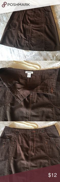 """Brown Cherokee cotton skirt Size 12 Cherokee skirt in great used condition.  Zipper works well, all seams and buttons intact.  Skirt measures 34"""" at waist and 20 1/2 inches in length. Cherokee Skirts A-Line or Full"""