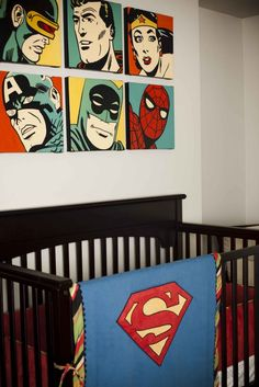 The Best Geek-Themed Baby Nurseries And Nursery Decorations  I would love this as Cap and the Avengers!