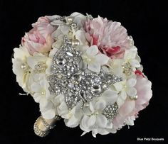 Custom Jeweled Flower Bouquet made with the Bride's flower + color choices:) by…
