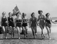 vintage memorial day beach photo...
