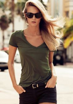 Awesome Color! Army Green Plain V-neck Synthetic Fiber T-shirt #Sexy #Khaki #Army_Green #Summer #Fashion