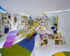 Library Design | Children's Library | The go to design on everybody's wish list....creative perfection....still my favourite children's library space...