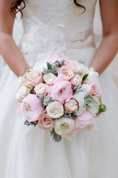 Gorgeous soft/pale pink wedding bouquet.  From 'A Seafoam Green and Soft Coral Inspired Colourful Wedding'.    Photography by http://www.tarahcoonan.com/