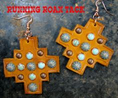 Aztec Leather Earrings with Turquoise Stones and Dots by Running Roan Tack
