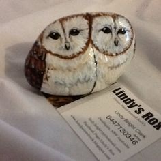 Barn Owls painted Rock