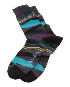 Arthur George by Robert Kardashian   Waves Men's Socks, Charcoal          Waves Men's Socks, Charcoal