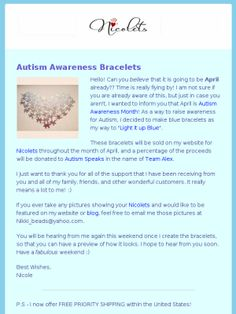Check out this Mad Mimi newsletter #bracelets #autism #autismspeaks #autismawareness #support #fundraiser #accessories #nyc #fashion #style #puzzlepiece #jigsaw #findacure #bracelet #beads #armcandy #armparty #fashion #womensfashion #mensfashion #international #love #mode #moda #bir bilezik #ブレスレット #unbracelet #gelang #unbrazalete #ettarmband #isangpulseras #pulseras