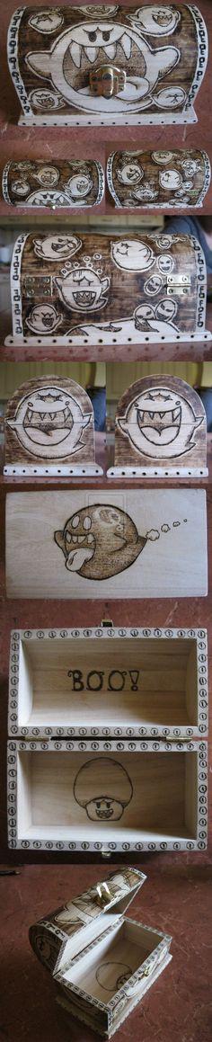"Mario ""Boo"" Wood Box | Boo box by ~Sumirechan92 on deviantART | Super Mario Brothers Nintendo NES SNES Video Games Wood Burning"