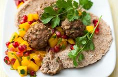 Pork pittas with mango and pomegranate salsa recipe - goodtoknow - 222 Calories Clean Eating Sweets, Clean Eating Kids, Clean Eating Soup, Lunch Snacks, Lunch Recipes, Diet Recipes, Healthy Recipes, Weekly Recipes, Kid Lunches