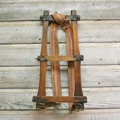 Vintage Wood and Canvas Backpack - Rustic Frame Pack by AuroraMills, $42.00