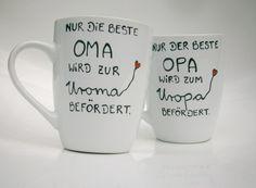 Wunderschöne Tasse : **Nur die beste OMA wird zur UROMA befördert.** ♥ ♥ ♥ Die Tasse für den werdenden UROPA findet ihr auch in unserem Shop ♥ ♥ ♥ Farbe Tasse : weiss Aufschrift...