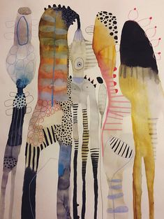 Watercolor Paintings by Emma Larsson from Stockholm, Sweden. - Watercolor Paintings by Emma Larsson from Stockholm, Sweden. Abstract Watercolor Art, Watercolor And Ink, Watercolor Artists, Simple Watercolor, Water Color Abstract, Abstract Animal Art, Flower Watercolor, Abstract Portrait, Watercolor Portraits
