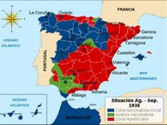 Second Spanish Republic at the beginning of the Civil War, Red - republican Spain; blue - regions, affected by the revolt; green - advance of the rebels. Spanish Class, Teaching Spanish, Super Hero Shirts, Ap Literature, History Images, Conquistador, Lest We Forget, Pearl Harbor, World History