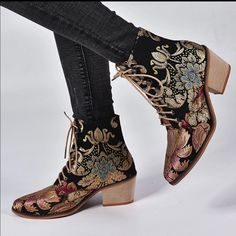 Diamonds_Denim Shoes | Presale 30% Off Boho Black Brocade Ankle Boot | Color: Black/Blue/Gold/Red/Tan | Size: Various Leather Buckle, Leather Heels, Fancy Robes, Bootie Boots, Ankle Boots, Denim Shoes, Bridesmaid Shoes, Casual Boots, Women's Casual