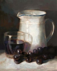 "Daily Paintworks - ""Pitcher and Grapes"" - Original Fine Art for Sale - © Linda Jacobus"