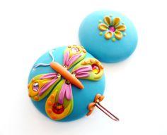Portuguese Knitting Pin - Magnetic Portuguese Knitting Pin - Butterfly - Handmade Knitting Pin