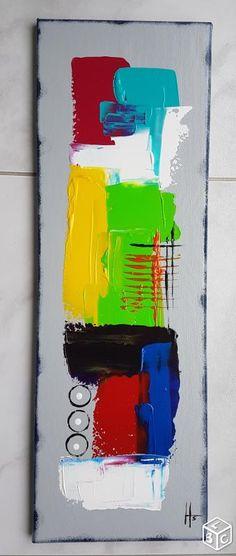 Tableau abstrait peinture contemporain coloré Décoration Bas-Rhin - leboncoin.fr