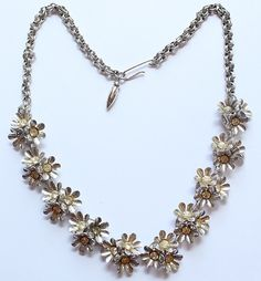 Vintage Silver Tone Flower Floral Rhinestone Necklace by paststore on Etsy