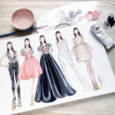 48 Ideas For Dress Fashion Illustration Sketch Inspiration Fashion Design Sketchbook, Fashion Illustration Sketches, Illustration Mode, Fashion Design Drawings, Fashion Sketches, Drawing Fashion, Design Illustrations, Fashion Collage, Fashion Art