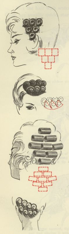Pincurl diagrams scanned from Standard Textbook of Cosmetology, published by Accredited Schools of Beauty Culture, Inc. - love retro