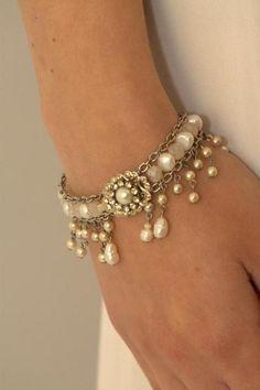 Bracelets & Wristbands - Bridal Bracelet,Pearls Wedding Bracelet,Rhinestone,Vintage www.ezebee.com/mylittlebride
