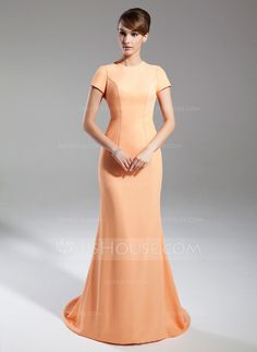 Trumpet/Mermaid Scoop Neck Court Train Chiffon Mother of the Bride Dress (008015391)