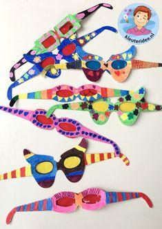 Bril maken met kleuters, kleuteridee, thema het oog, bril, Kindergarten eye theme glasses.