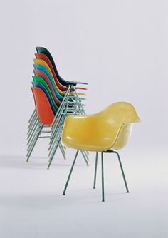 Eames Molded Plastic chairs. Do not buy a fake. Honor the integrity of the design by purchasing the licensed product that is sold through vendors Vitra and Hermann Miller, who are approved by the Eames family. #ethical
