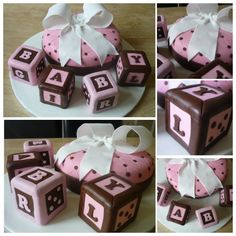 Baby Girl brown and pink themed cake for a baby shower. Large blocks made using home-made Rice Krispie treats.