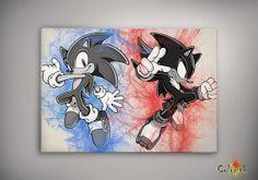 Sonic The Hedgehog Sonic Shadow Sega Watercolor by ColorInk, $11.00