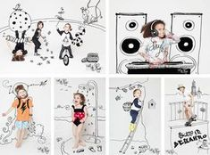 Drawing + Pictures of kids = Success garanteed! Creative Photography, Children Photography, Doodle On Photo, Foto Baby, Draw On Photos, Magazines For Kids, Kids Branding, Photo Illustration, Banner Design