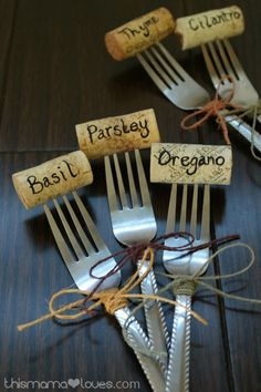 Herb Garden Markers from This Mama Loves.  A fun DIY project to make herb…