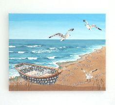 Acrylic Painting, Beach Artwork with Seashells and Sand, Fishing Boat & Seagulls, Seashell Mosaic on Sand, Mosaic Art, 3D Art Collage