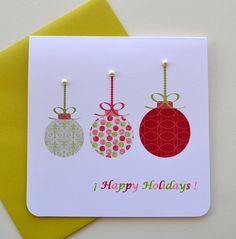 Three Colorful Christmas Balls Happy Holidays by yarisiandco, $4.25