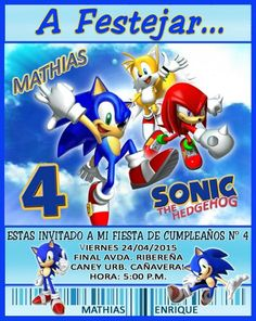Tarjeta de Invitación,  motivo Sonic Sonic Birthday Parties, Sonic Party, 4th Birthday, Sonic Dash, Sonic Boom, Ideas Para Fiestas, Holidays And Events, Birthday Invitations, Sony