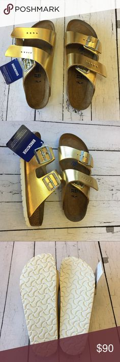 Birkenstock gold Arizona soft footbed sandal The often imitated; never duplicated; category-defining; two-strap wonder from Birkenstock. A comfort legend. Made in Germany Metallic Leather – smooth; high quality leather with a metallic finish Soft Footbed - Contoured cork footbed conforms to the shape of your foot and features pronounced arch support with an extra layer of super soft foam cushioning; a deep heel cup and roomy toe box; lined with suede Lightweight EVA sole for cushioning and…